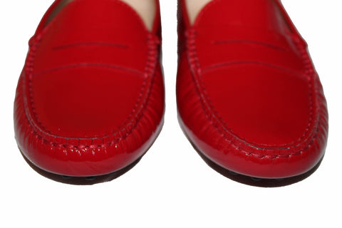 Authentic New Tod's Red Patent Leather Gommini Mocassino Loafers Women's Size 35.5