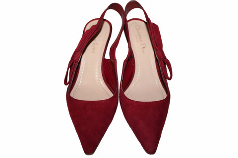 Authentic Christian Dior Scarlet Suede Leather Slingback Pumps Size 36