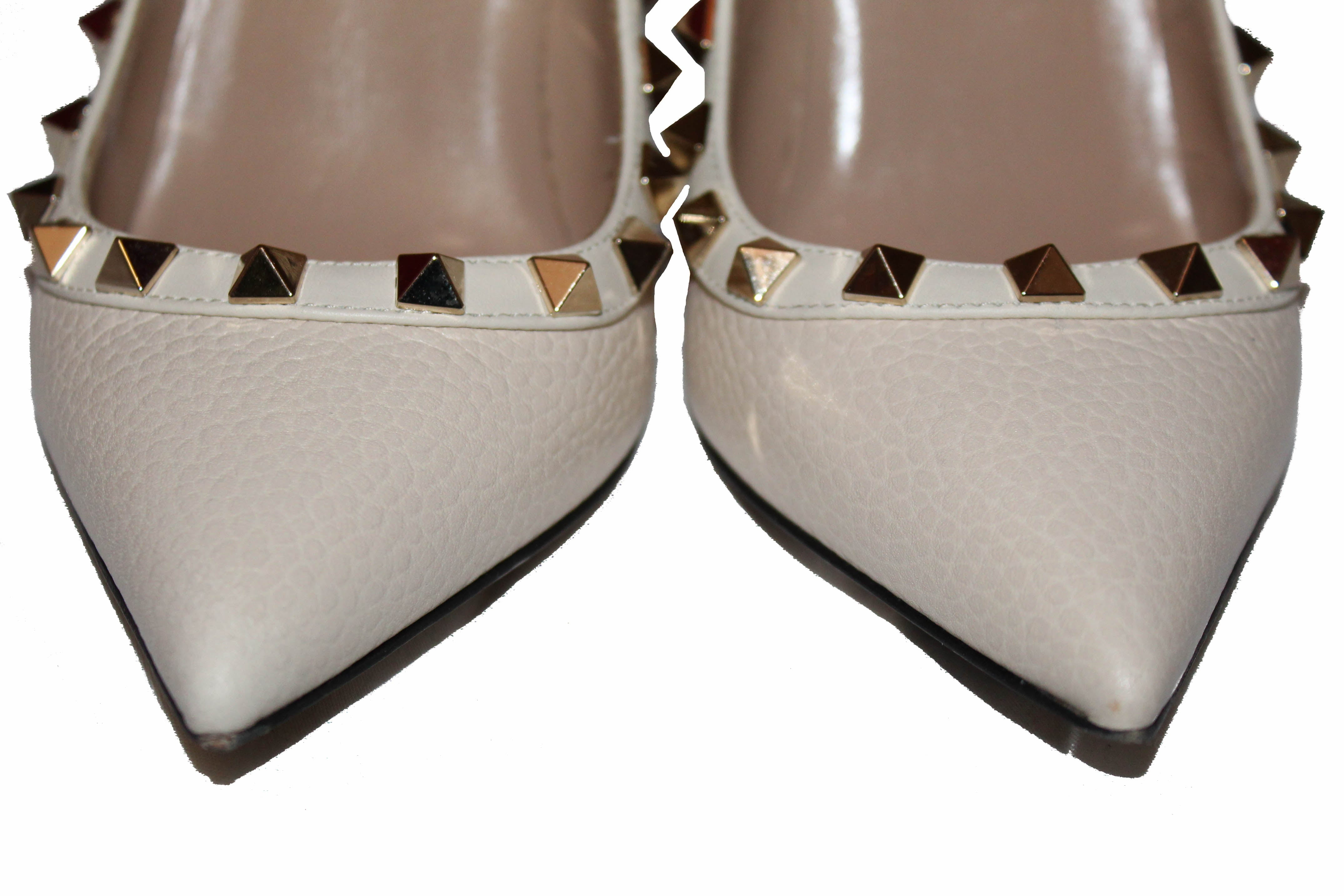 Authentic Valentino Garavani Ivory Pebbled Leather Pumps Size 35