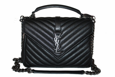 Authentic Yves Saint Laurent YSL Black Matelasse Leather Medium Collage Bag