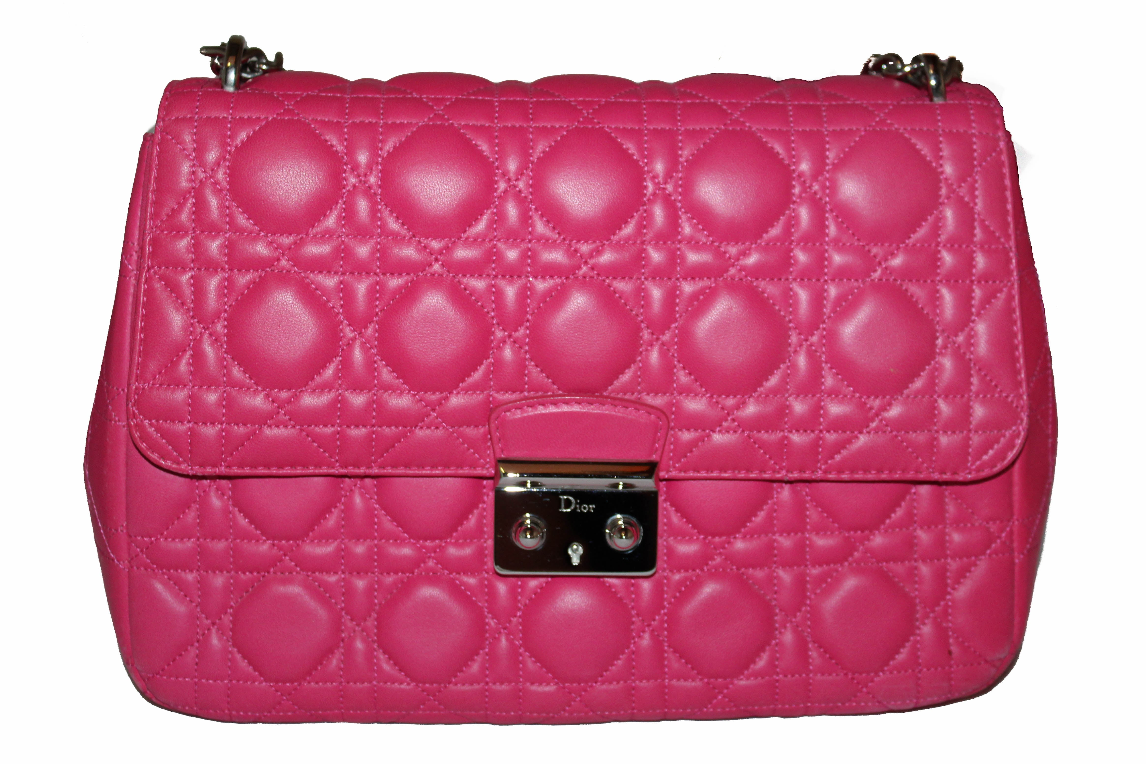 Authentic Christian Dior Fuchsia Lambskin Cannage Large Miss Dior Flap Shoulder Bag