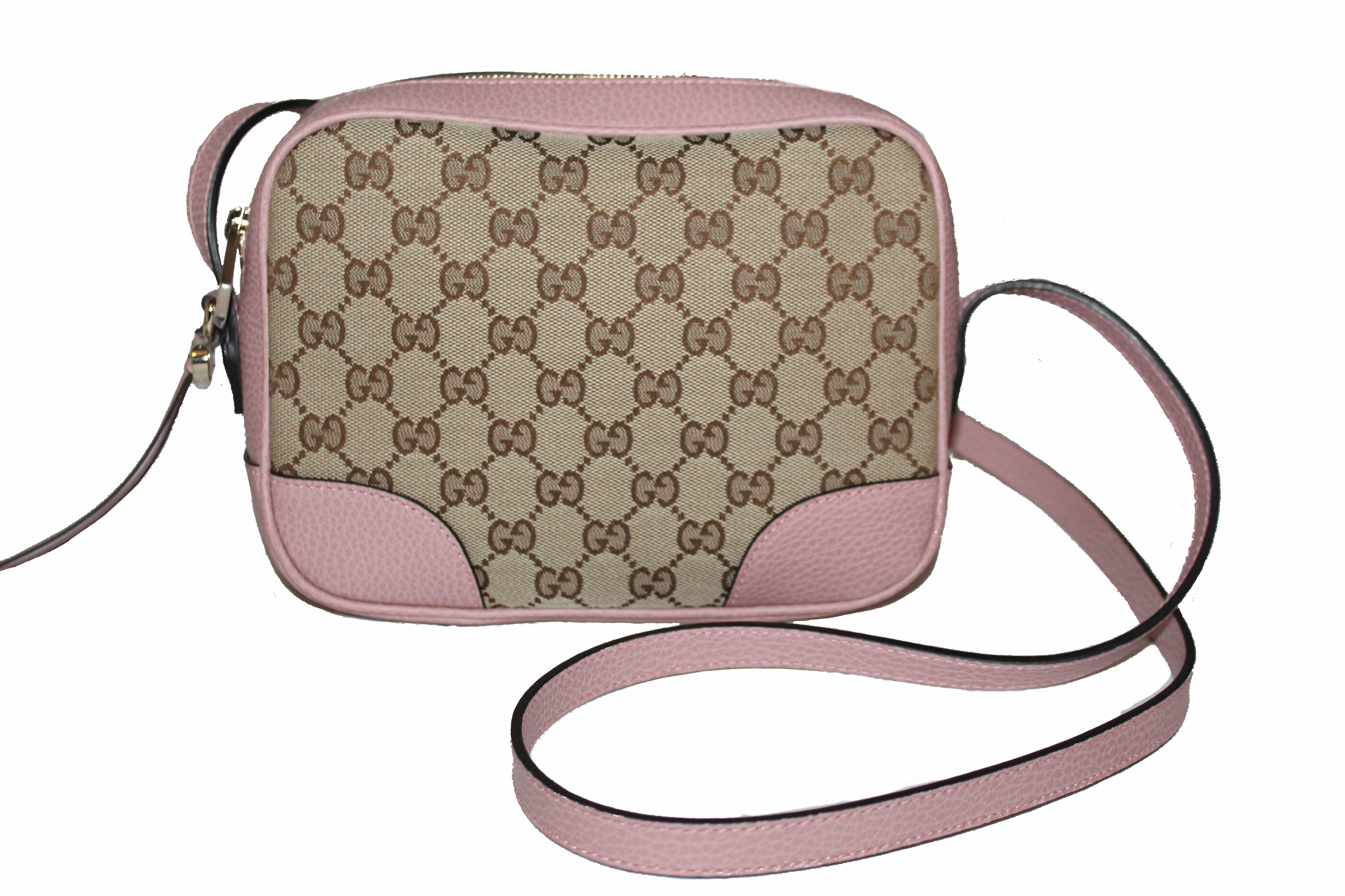 Authentic New Gucci Pink Signature GG Bree Crossbody Bag