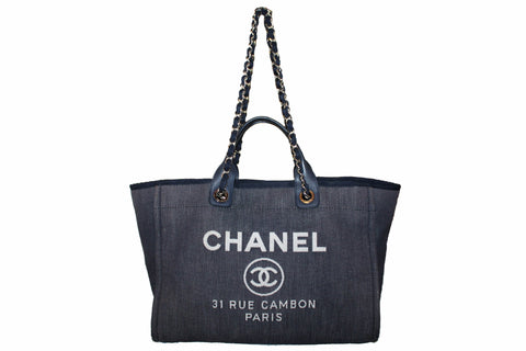 Authentic Chanel Deauville Dark Blue Denim Large Shopping Tote Bag