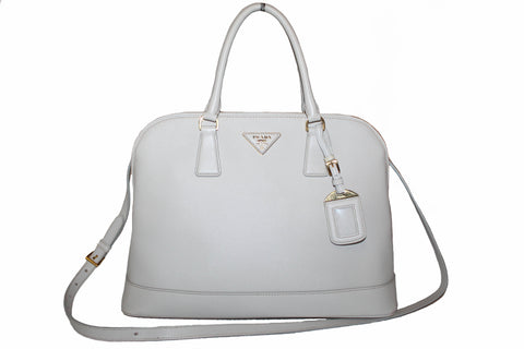 Authentic Prada White Saffiano Lux Leather Double Handle Large Tote Bag