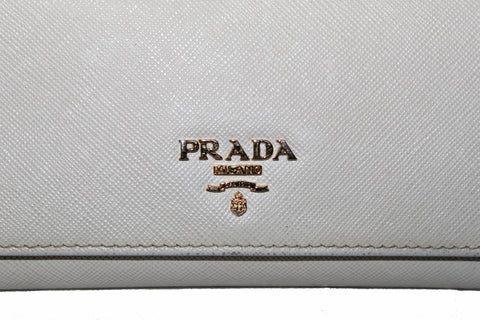 Authentic Prada Ivory Saffiano Leather Continental Flap Wallet