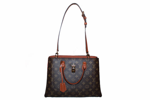 Authentic Louis Vuitton Caramel Monogram Flower Tote Handbag/Shoulder Bag