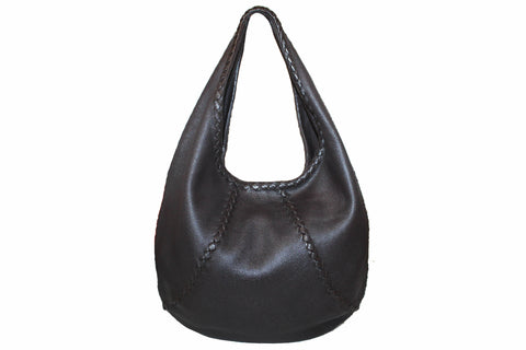 Authentic Bottega Veneta Dark Brown Cervo Leather Baseball Hobo Bag