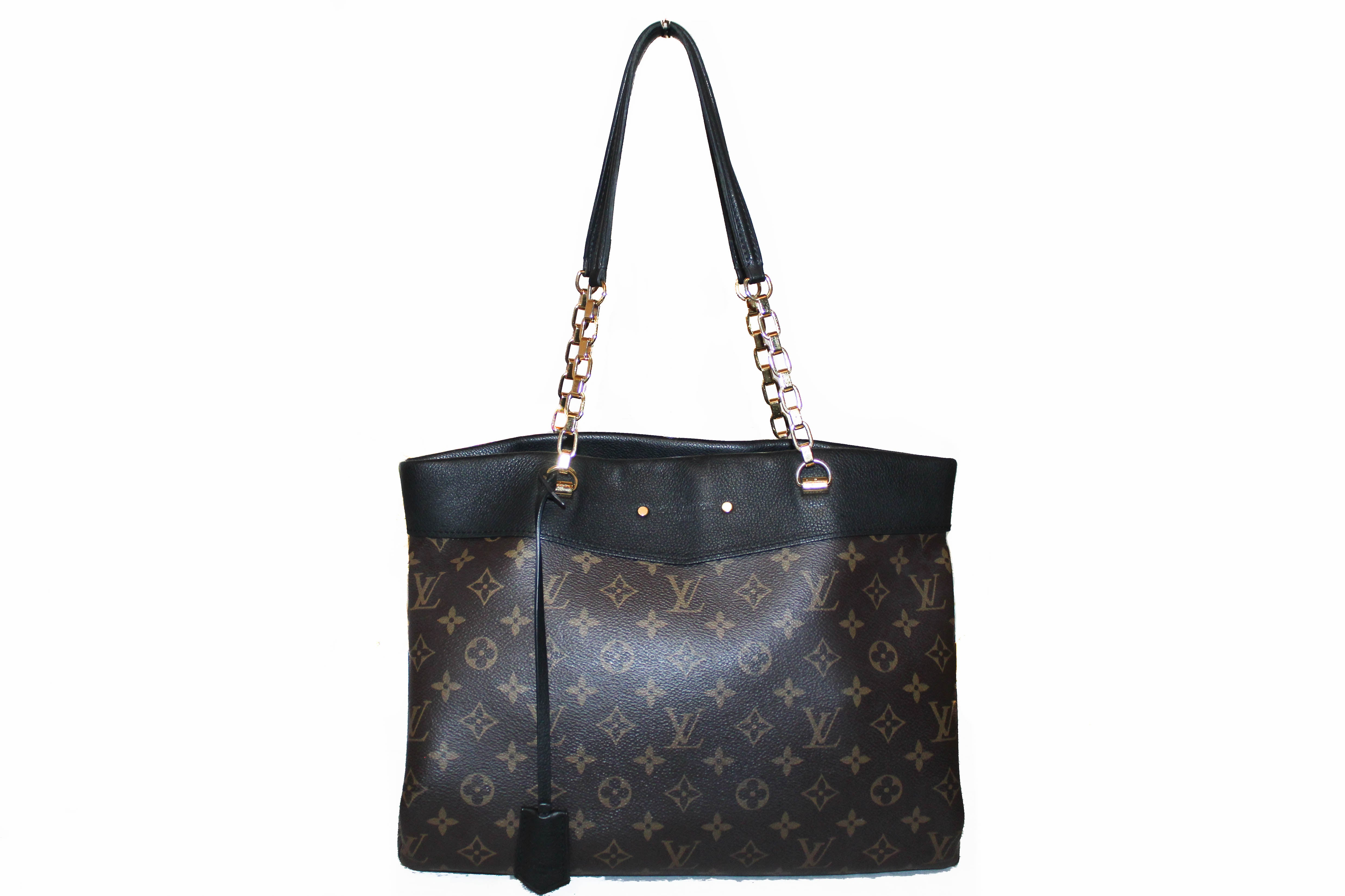 Authentic Louis Vuitton Monogram Noir Pallas Shopper Tote Shoulder Bag
