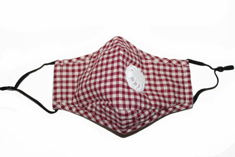 Non Medical Red & White Plaid Light Weight & Comfortable Wear Face Mask/Covering