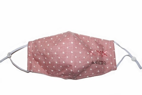 Non Medical Pink Hearts Welcome Light Weight & Comfortable Wear Face Mask/Covering