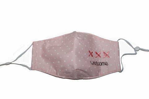 Non Medical Light Pink Hearts Welcome Light Weight & Comfortable Wear Face Mask/Covering