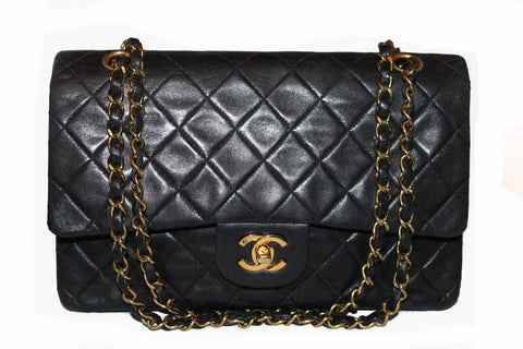 Authentic Vintage Chanel Black Medium Quilted Lambskin Leather Double Flap Bag