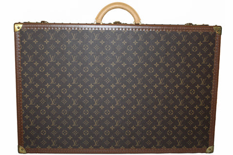 Authentic Louis Vuitton Monogram Alzer 75 Trunk Hard Case Suitcase