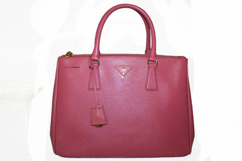 Authentic Prada Pink Saffiano Lux Leather Medium Double Zip Tote Bag