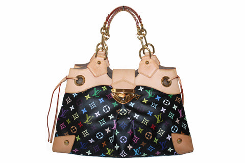 Authentic Louis Vuitton Black Multicolore Monogram Ursula Large Shoulder Bag