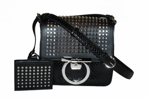 Authentic New Salvatore Ferragamo Black Gancio Lock with Studs Snakeskin Leather Cross Body Bag