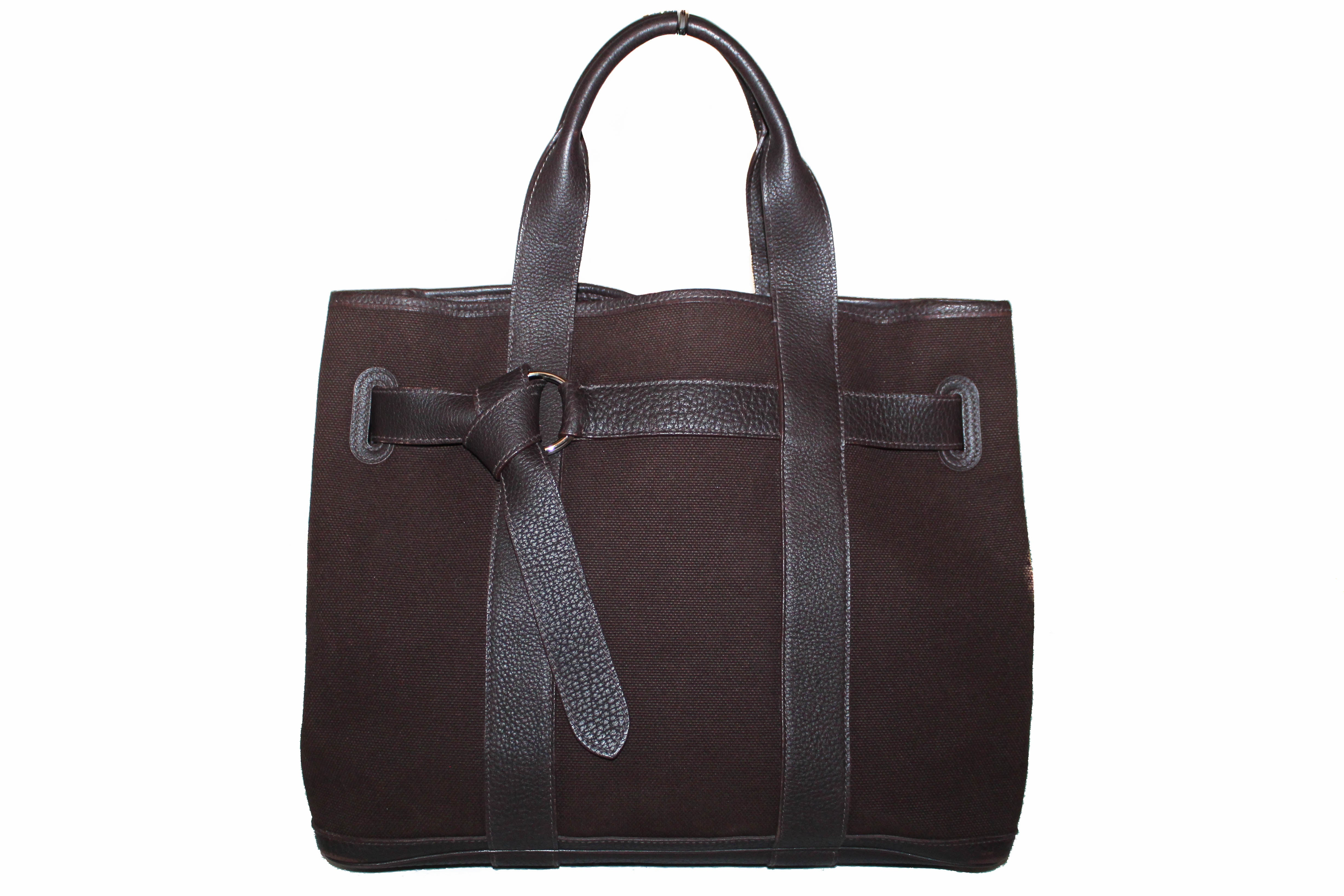 Authentic Hermes Dark Brown Canvas Ceinture MM Tote Handbag