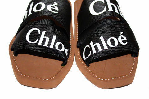 Authentic New Chloe Black Women's Woody Logo Slide Sandals Flats Size 37