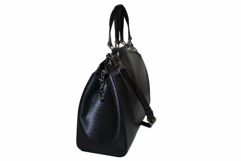 Authentic Louis Vuitton Black Epi Leather Brea MM Hand Bag/Shoulder Bag