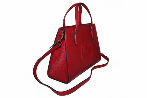 Authentic Gucci Red Soho Pebbled Leather Tote Hand Bag/Cross Body Bag