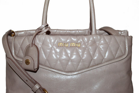 Authentic Miu Miu Cipria Vitello Shine Trapu Leather Hand Bag/Shoulder Bag