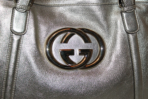 Authentic Gucci Metallic Gold Tote Shoulder Bag