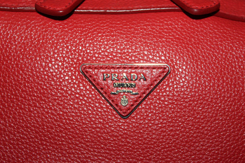 Authnetic Prada Orange Red Pebbled Leather Shoulder Bag
