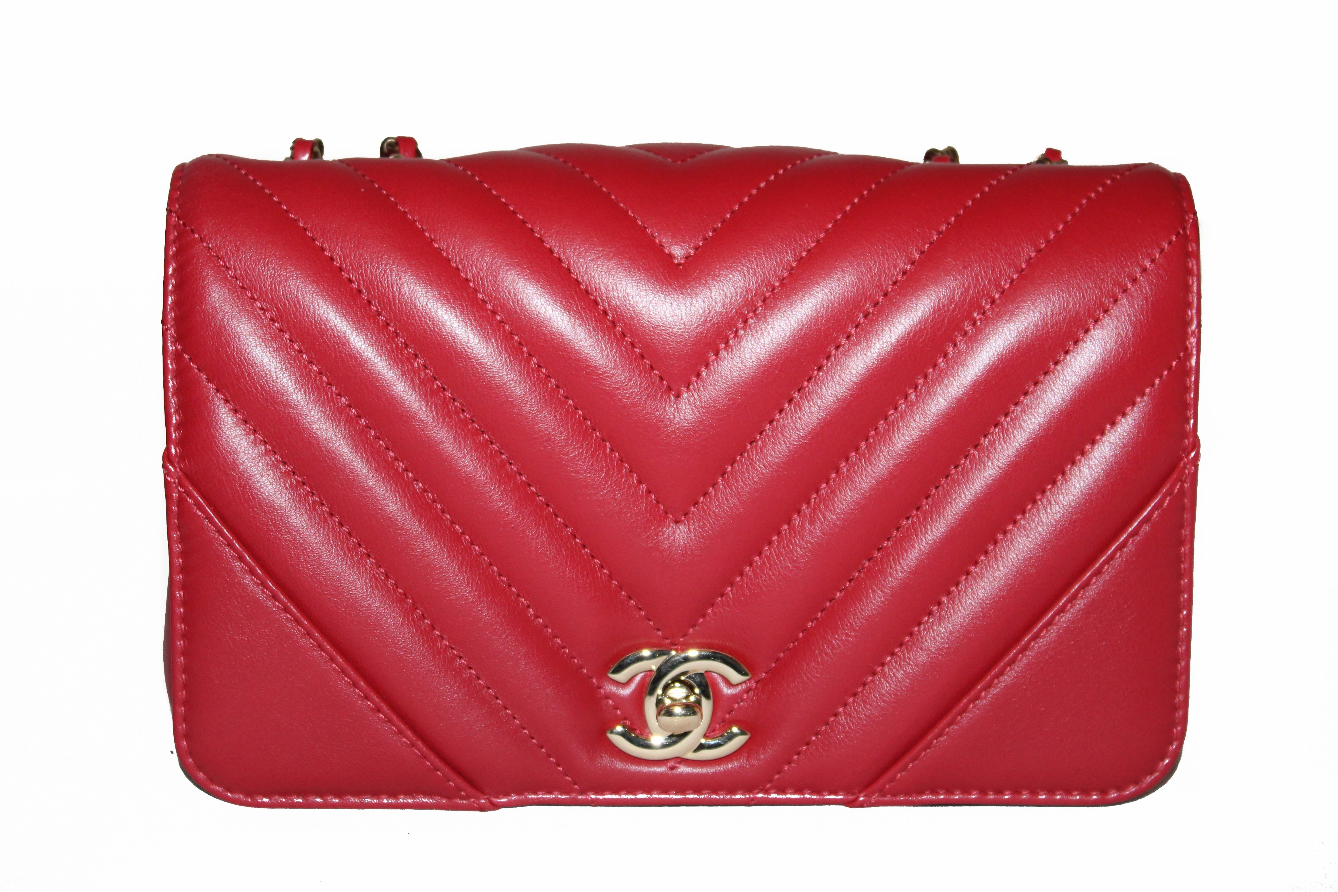 Authentic Chanel Red Chevron Lambskin Mini Flap Leather Bag