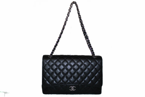 Authentic Chanel Classic Black Single Flap Caviar Leather Maxi Chain Shoulder Bag