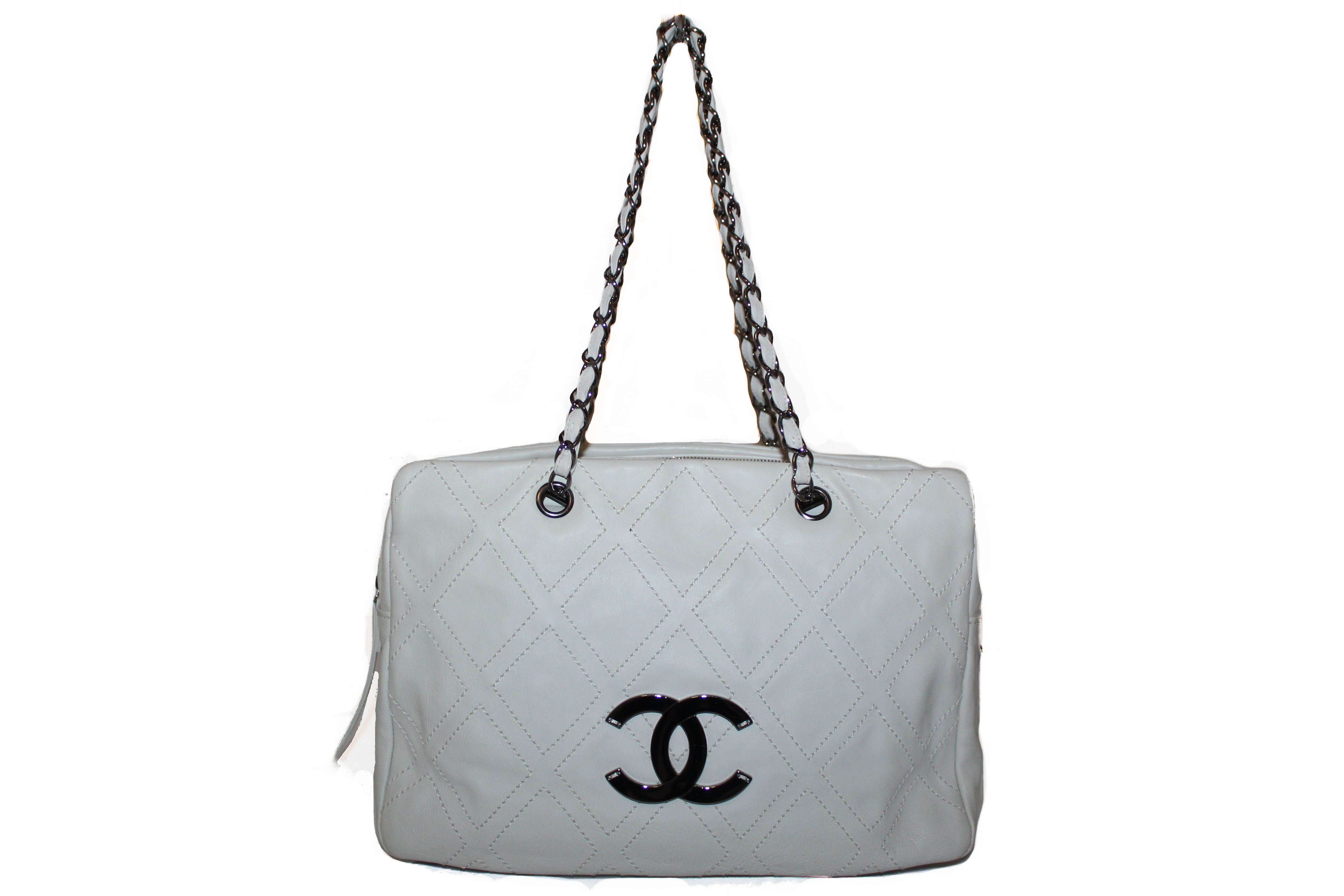 Authentic Chanel Off White Lambskin Leather Diamond Stitch Tote Bag
