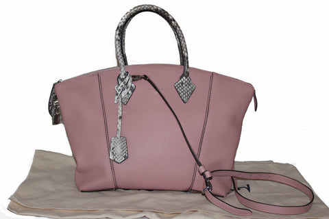 Authentic Louis Vuitton Pink Veau Cachemire Python Lockit PM Handbag