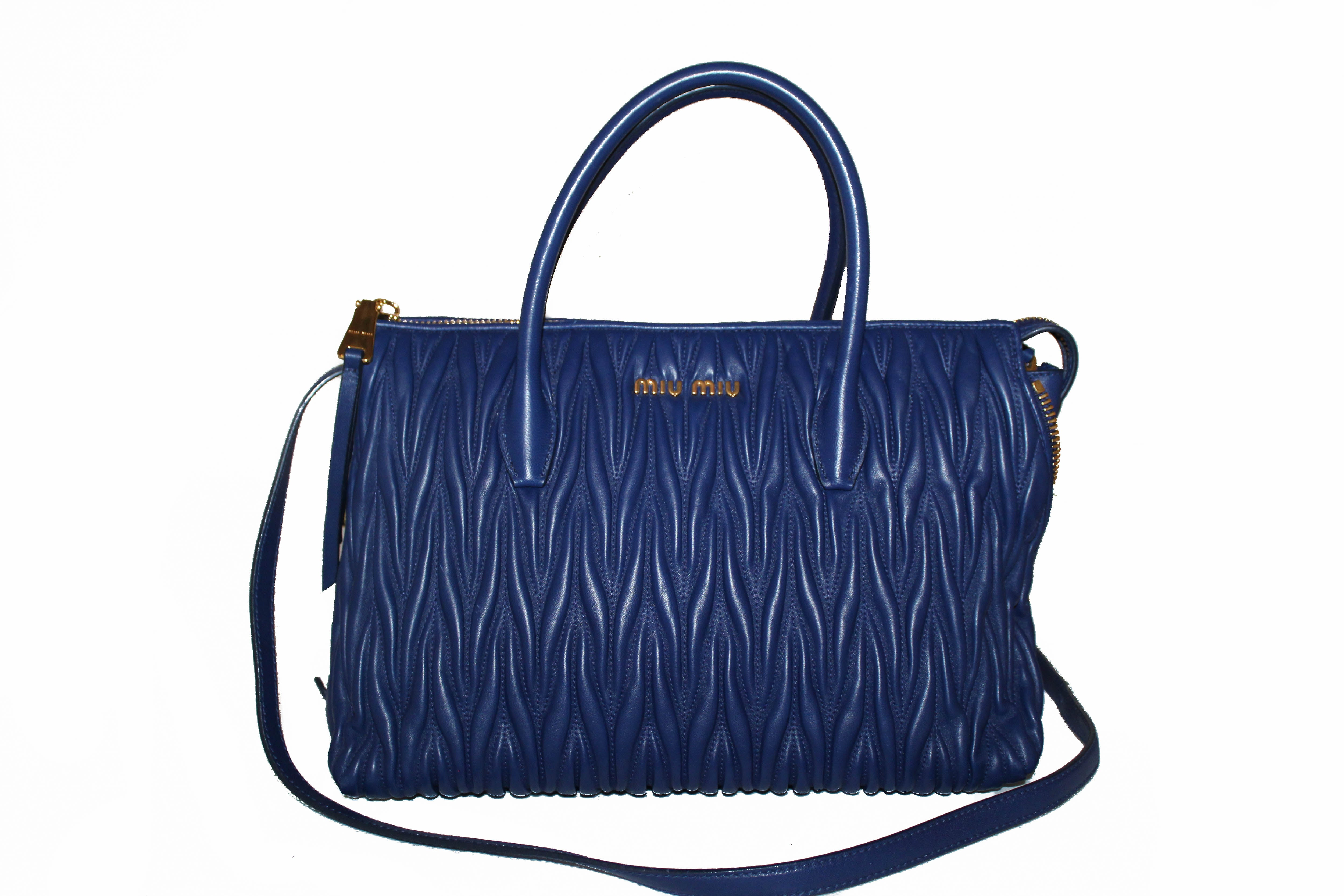 Authentic Miu Miu Blue Nappa Leather Maletasse Tote Bag with Long Strap