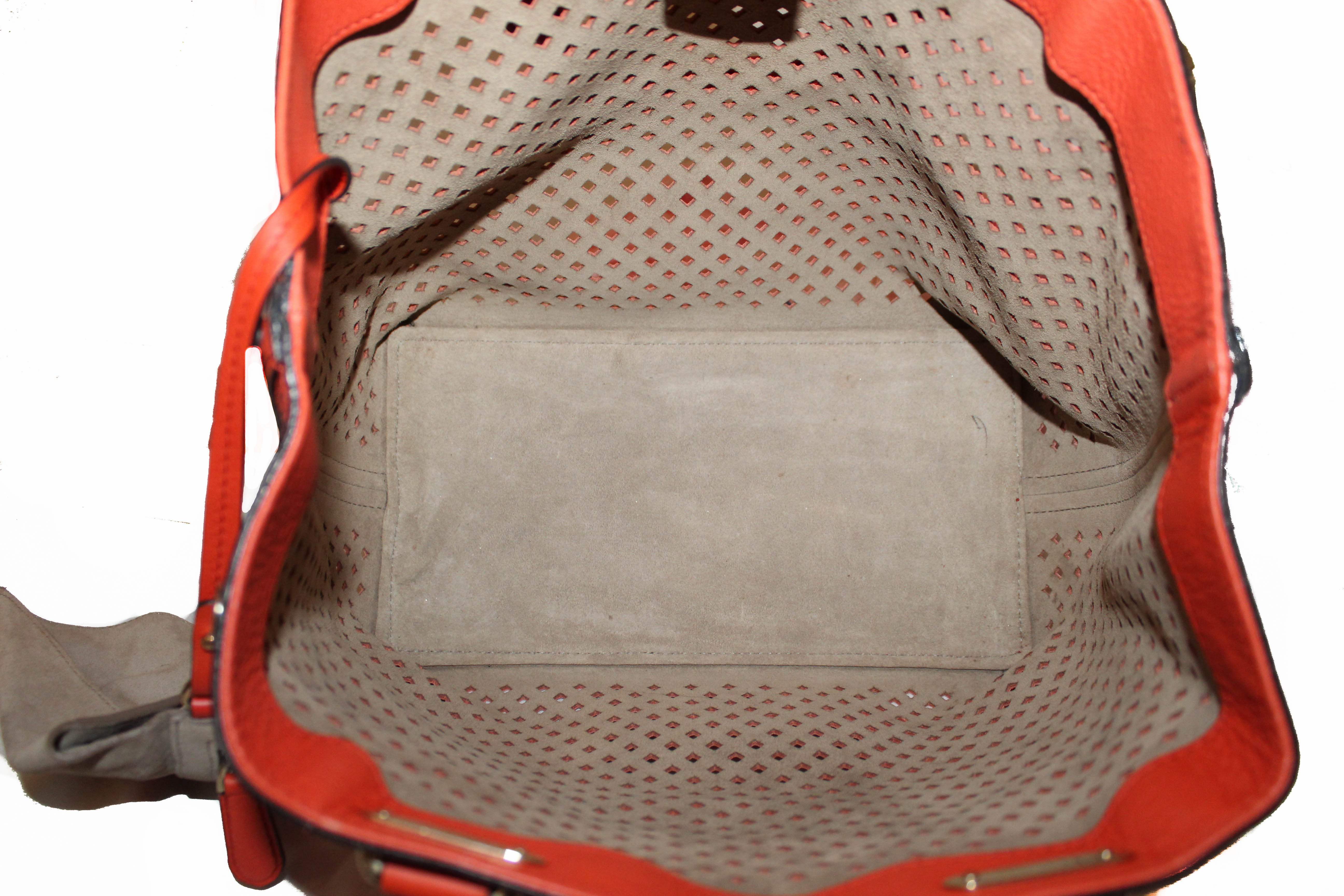Authentic Bally Orange Leather Piaffel Perforated Tote Bag