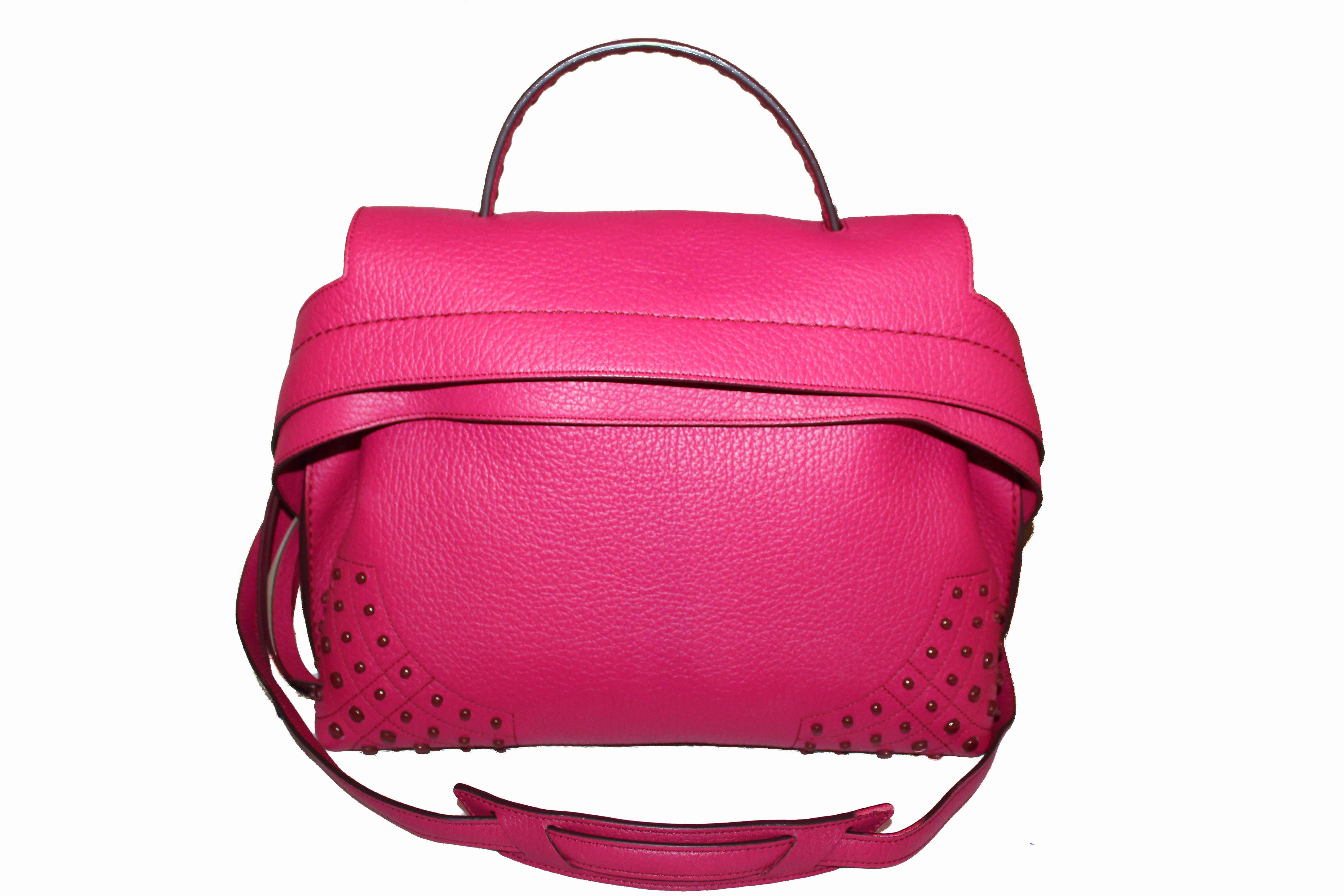 Authentic Tod's Fuchsia Pink Leather Patta Monospalla Tote Bag