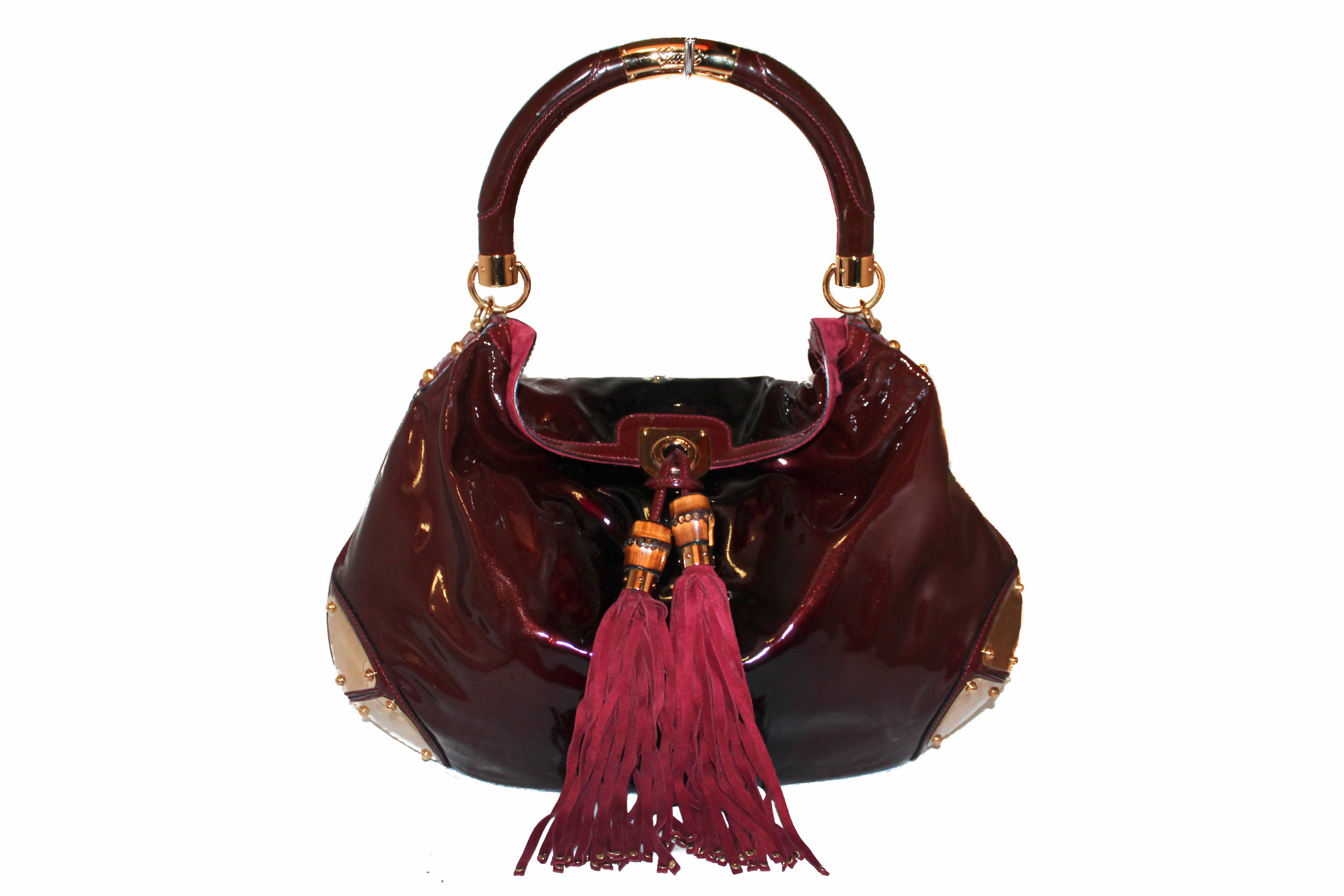 Authentic Gucci Burgundy Patent Leather Babouska Shoulder Tote Bag