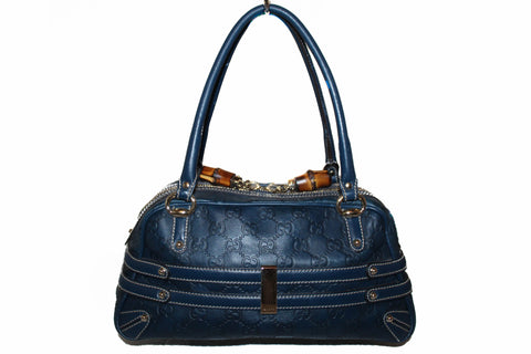 Authentic Gucci Navy Blue Guccissima Leather Horsebit Boston Handbag 159399