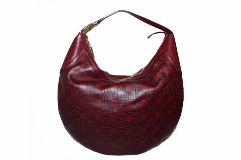 Authentic Gucci Burgundy Leather Horsebit Embossed Buckle Hobo Shoulder Bag 145764