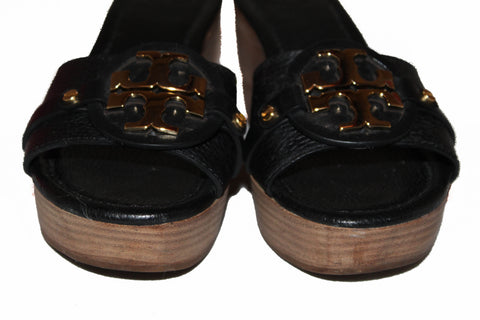 Authentic Tory Burch Black Wedge Sandal Size 6.5M