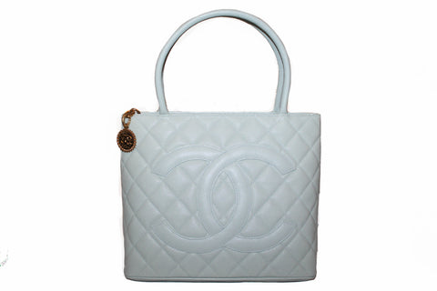 Authentic New Chanel Mint Green Caviar Leather Medallion Shoulder Tote Bag