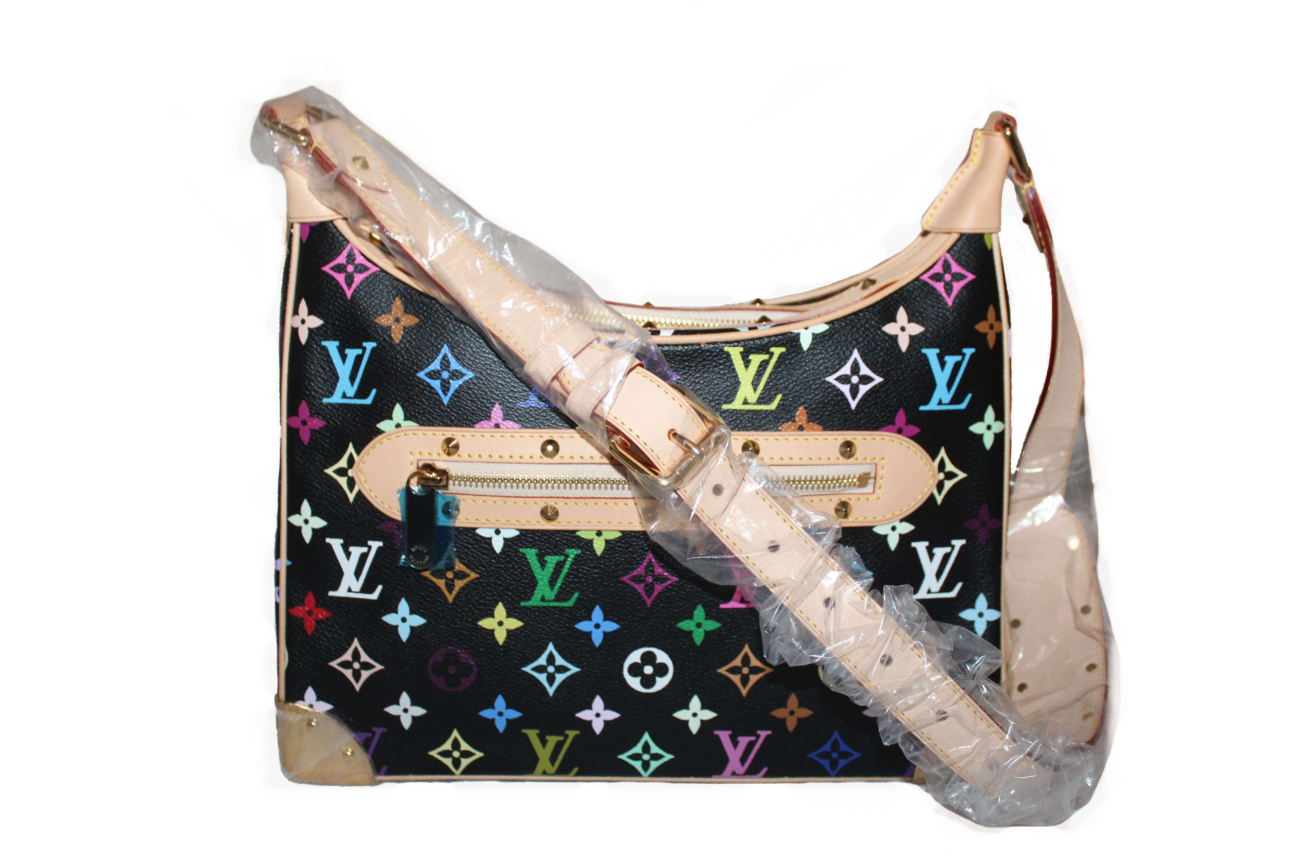 Authentic New Louis Vuitton Black Multicolor Boulogne Shoulder Bag