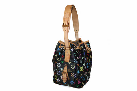 Authentic Louis Vuitton Black Multicolor Canvas Noe Drawstring Shoulder Bag