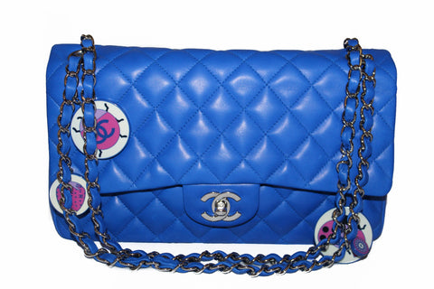 Authentic New Chanel Electric Blue Lambskin Quilted Leather Charrm Medium Classic Shoulder Bag