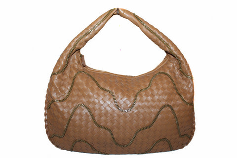 Authentic New Bottega Veneta Brown Intrecciato Leather Chain Veneta Hobo Shoulder Bag