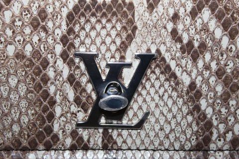 Authentic New Louis Vuitton Black Calfskin Leather and Python Lock Me II Handbag