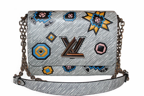 Authentic Louis Vuitton White Epi Azteque Twist MM Chain Handbag