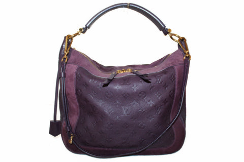 Authentic Louis Vuitton Purple Suede Empreinte Leather Audacieuse MM Shoulder Bag