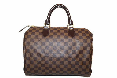 Authentic Louis Vuitton Damier Ebene Canvas Speedy 30 Handbag