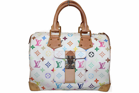 Authentic Limited Edition Louis Vuitton White Multicolore Canvas Speedy 30 Handbag