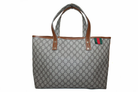 Authentic Gucci Brown Supreme Canvas Tote Shoulder Bag 211134