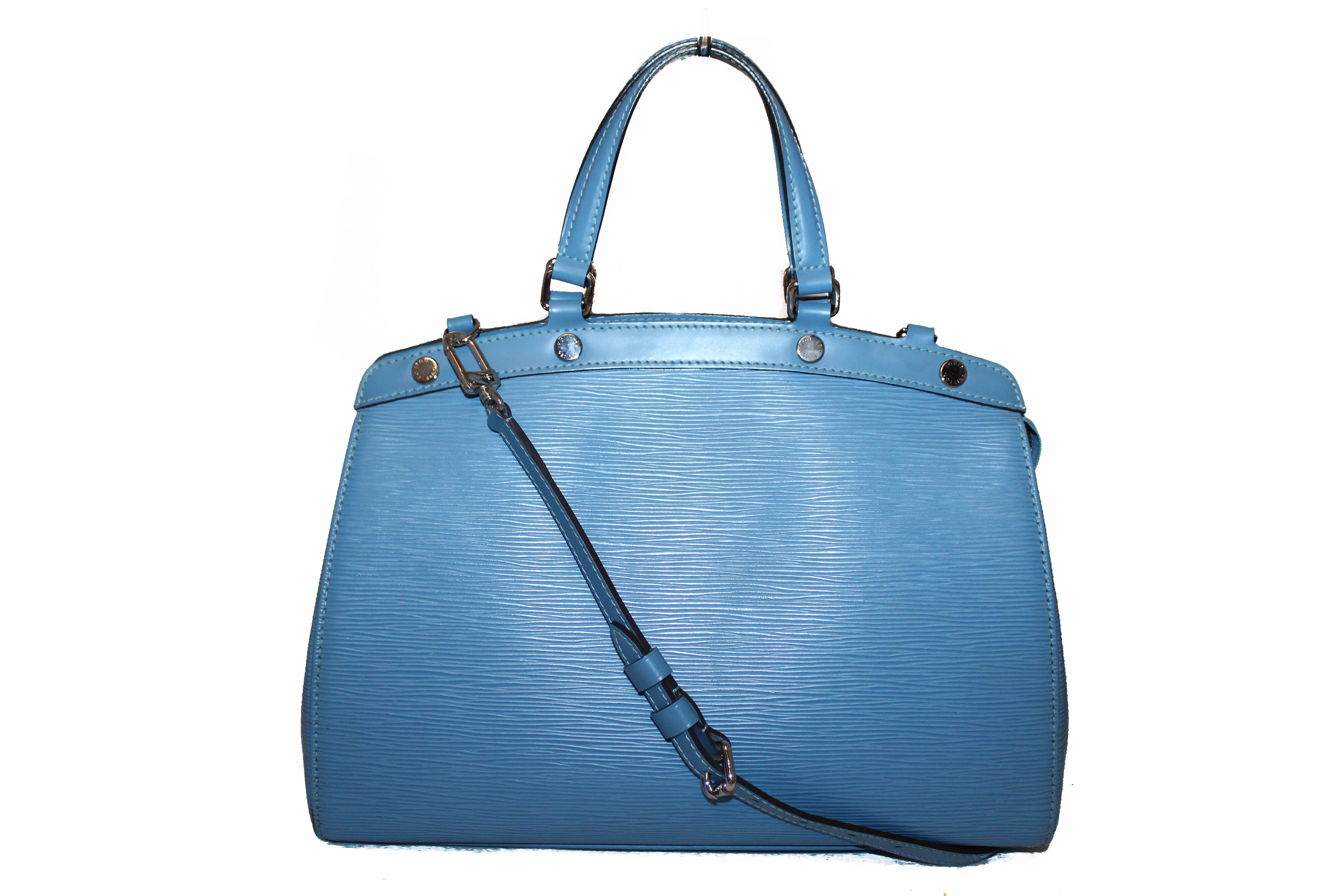 Authentic Louis Vuitton Blue Epi Leather Brea MM Tote Shoulder Bag